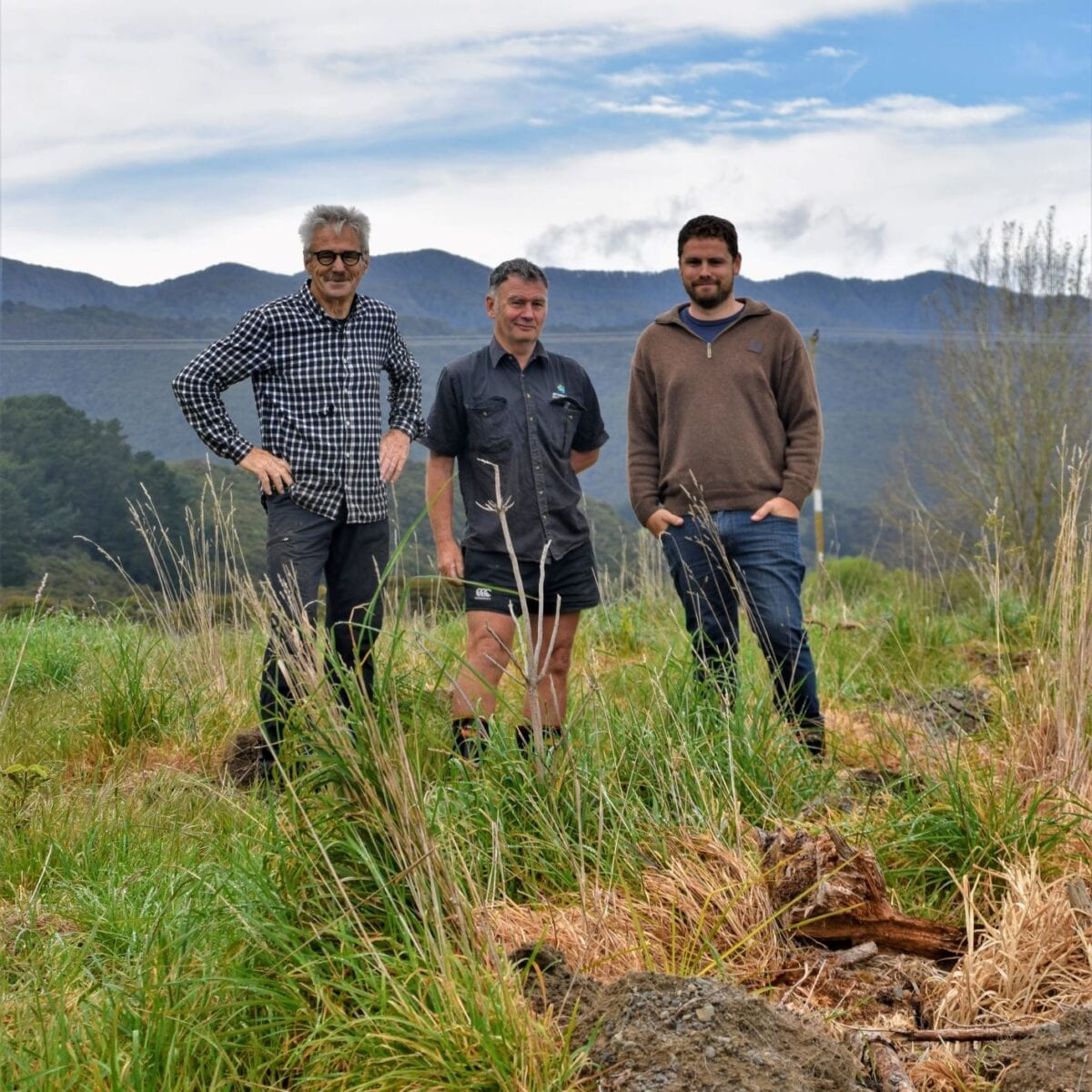 Clive Paton (Aorangi Restoration Trust Chair), Trevor Thompson (QEII National Trust) and Aaron Donges (Aorangi Restoration Trust Operations Manager) at a site visit