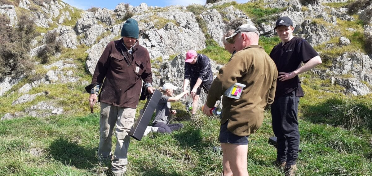 Tim Hewitt and Sustainable Wairarapa volunteers instaling traps and tracking tunnels at Pontatahi Lizard Sanctuary